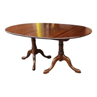 Solid Cherry Queen Anne Leopold L & Jg Stickley Furniture Oval Double Pedestal Dining Room Table W/ 2 Leaves For Sale