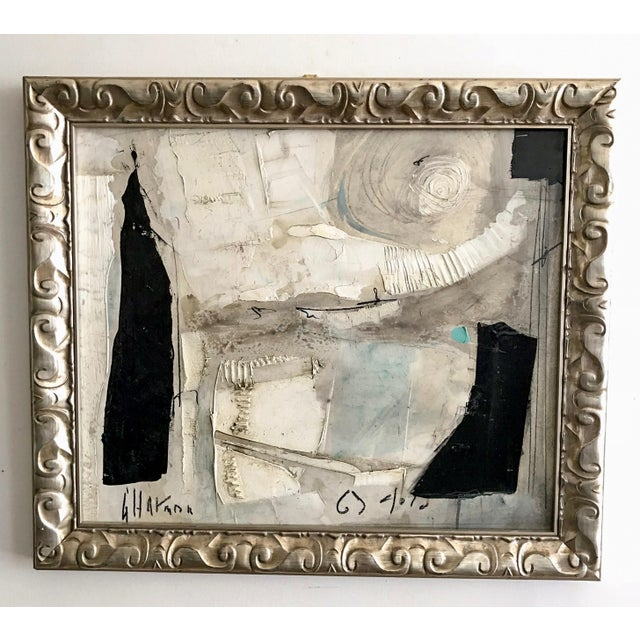 Original large format black and white abstract with depth added by the impasto detail. Mixed media on paper applied to...