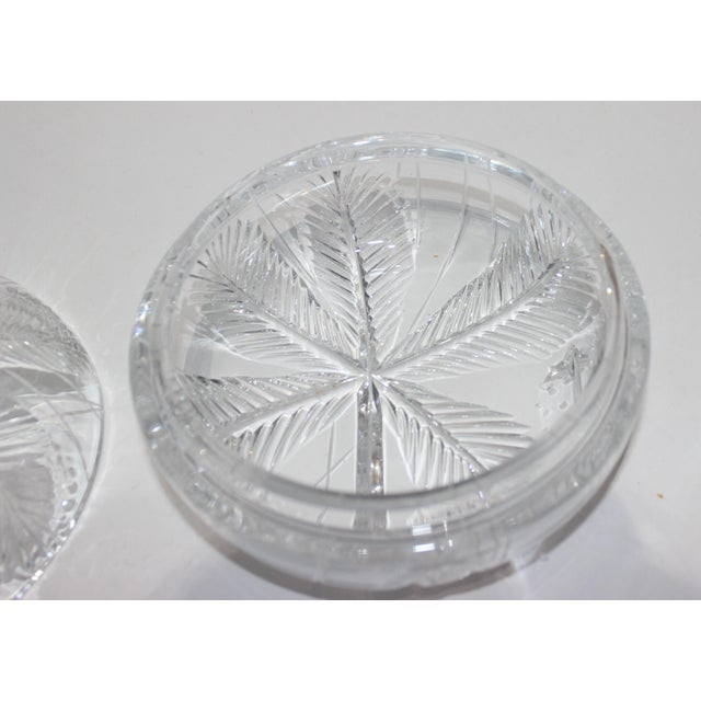 American Palm Tree Lidded Box Bonbonnier in Cut Crystal For Sale - Image 3 of 11