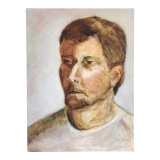 Vintage Mid-Century Acrylic Portrait of a Man For Sale