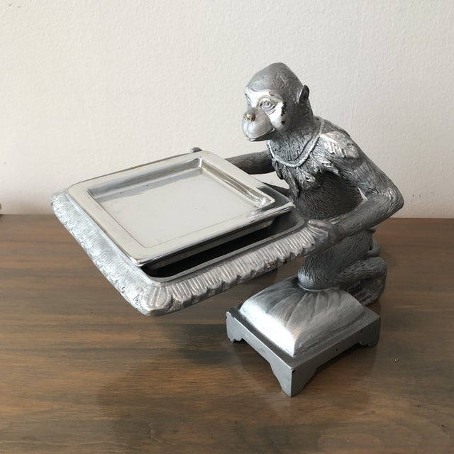 1970s Art Deco Silver Monkey Business Card Holder/Tray For Sale In Miami - Image 6 of 6