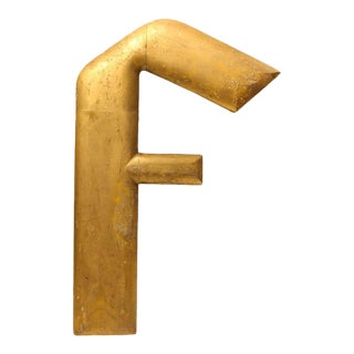 Antique Over Sized Gold Leaf Wooden Letter F
