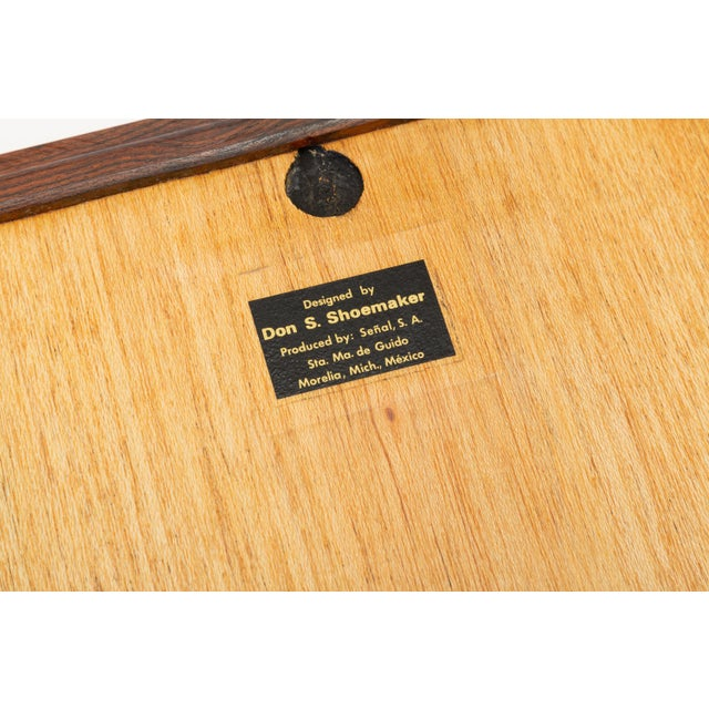 Brown Diamond Motif Rosewood Tray by Don Shoemaker for Señal For Sale - Image 8 of 9
