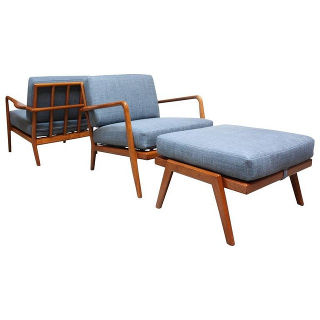 Pair of Mid-Century Walnut Armchairs and Ottoman by Mel Smilow - Image 3 of 11