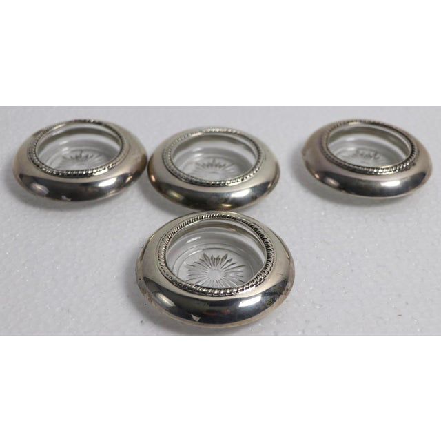 1950s Set of 4 Sterling Rim Coasters For Sale - Image 5 of 6
