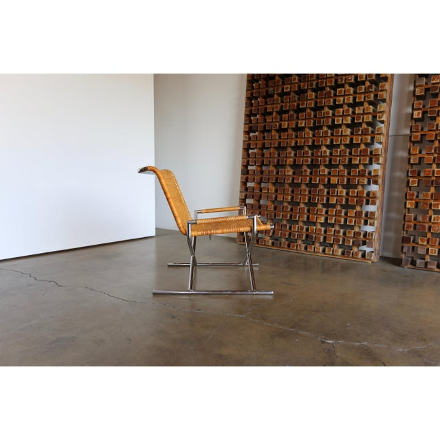 """Caning 1966 Vintage Cane & Chrome Plated Steel """" Sled """" Chair For Sale - Image 7 of 10"""