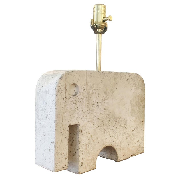Playful travertine table lamp from the 1950s in the shape of an elephant.
