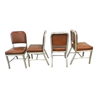 Vintage Industrial Brown Metal Office Chairs by Cole Steel - Set of 4
