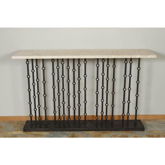 Paul Marra Iron Console with stone top. A modern, sculptural Brutalist console referencing mid century design. By order....