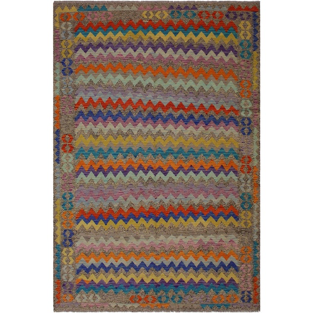 Blue Abstract Expressionism Alphonse Brown/Blue Hand-Woven Kilim Wool Rug - 6'6 X 9'10 For Sale - Image 8 of 8