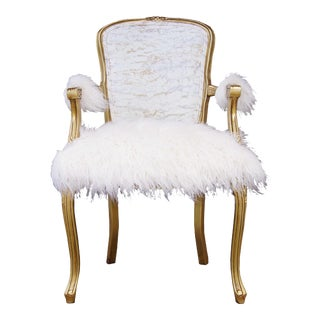 Late 20th Century Vintage Louis XV White and Gold Faux Sheepskin Chair For Sale