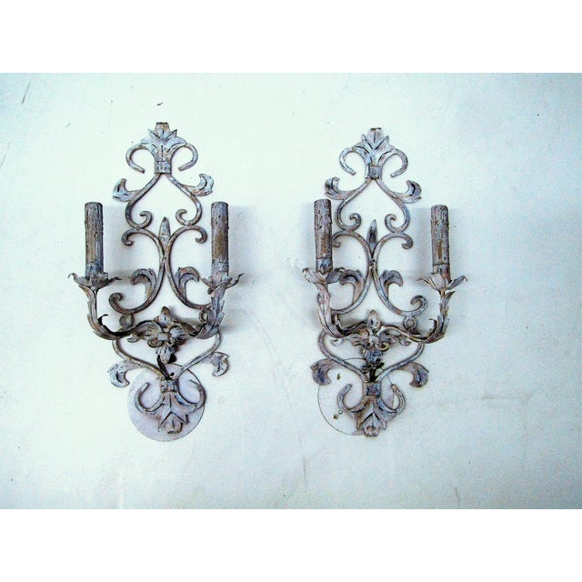 1950s Vintage Whitewashed Metal Hardwired Decorative Sconces - A Pair For Sale - Image 5 of 5