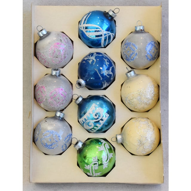 Adirondack Vintage Colorful Christmas Ornaments W/Box - Set of 10 For Sale - Image 3 of 10