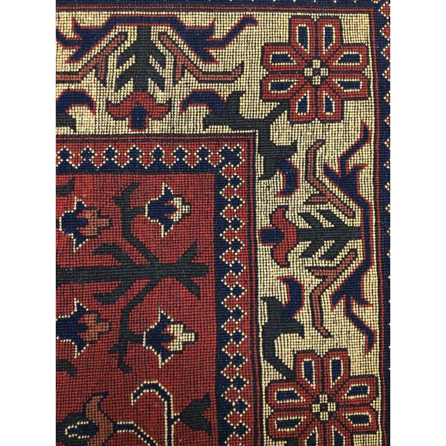 "Primitive Traditional Bokhara Floral Design Hand Knotted Wool Area Rug - 5'3"" X 7'3"" For Sale - Image 3 of 4"