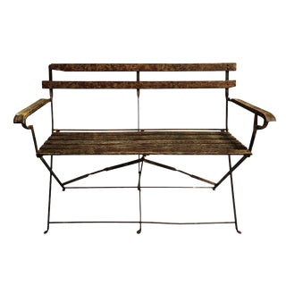 20th Century French Iron and Wood Folding Bench