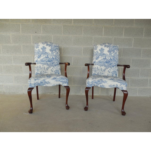 Blue Toile Arm Chairs - A Pair - Image 2 of 10