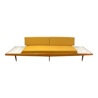 1960s Vintage Mid Century Danish Modern Adrian Pearsall for Craft Associates Platform Gondola Sofa & Attached Marble Side Tables For Sale