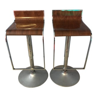 1990's Vintage Chrome and Wood Bar Stools- A Pair For Sale
