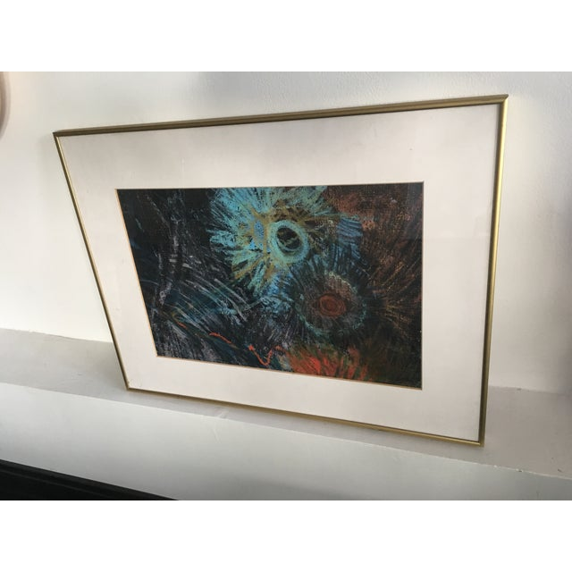 Fern Samuels Arc Gallery Turquoise Flower Painting - Image 3 of 7