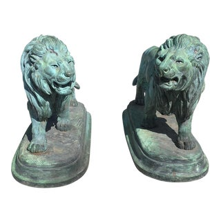 Paul-Edouard Delabrierre Bronze Lions - A Pair For Sale