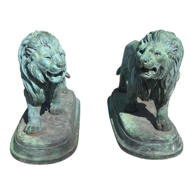 Paul-Edouard Delabrierre Bronze Lions - a Pair For Sale