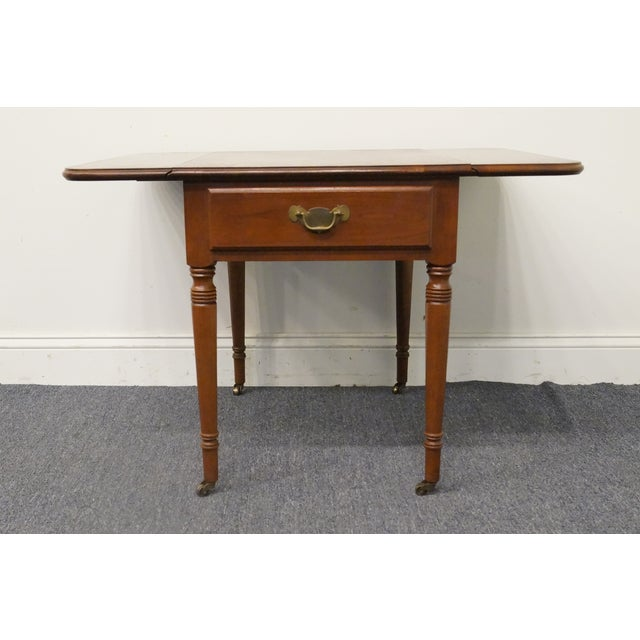 Brown 20th Century Tradiitonal Statton TruType Americana Solid Cherry Drop Leaf Pembroke End Table For Sale - Image 8 of 13