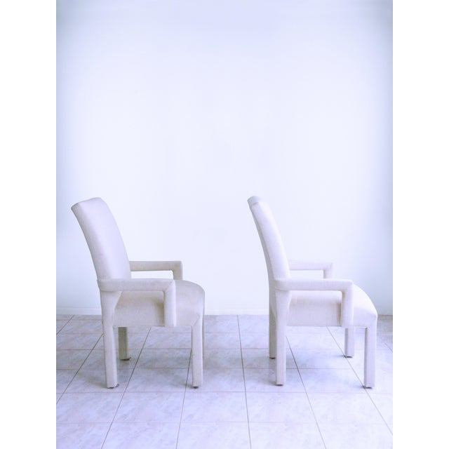 Art Deco Parsons Armchairs Post Modern Art Deco Inspired Upholstered Chairs - A Pair For Sale - Image 3 of 7