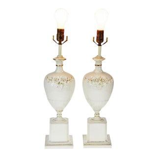 Vintage Italian Porcelain Floral Applique Lamps - A Pair