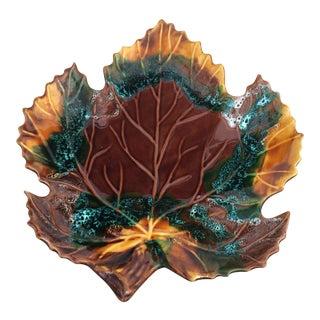 Holiday Serving Dish 1960's Vintage Vallauris Leaf Shaped Serving Dish For Sale