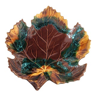 Mid Century 1960's Vintage Vallauris Leaf Shaped Serving Dish For Sale