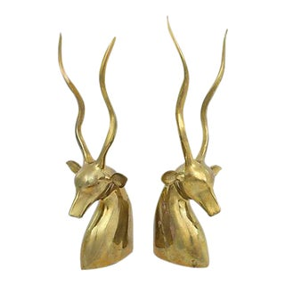 Mid-Century Brass Gazelles - a Pair