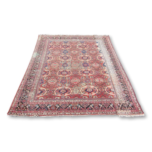 "Red and Blue Peshawar Area Rug - 13'1"" X 10' - Image 1 of 8"