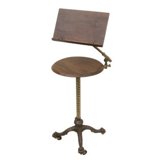 Antique Adjustable Reading Easel Table For Sale