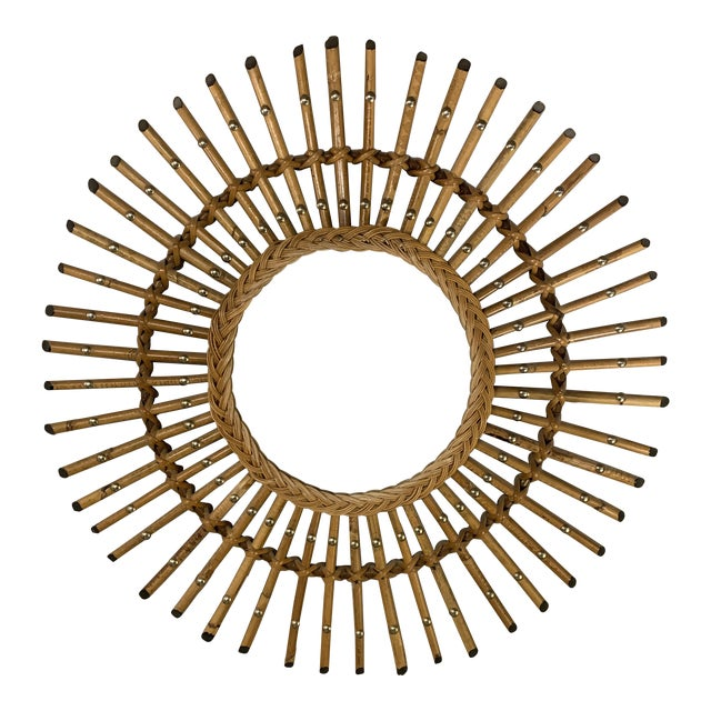 French Mid Century Bamboo Starburst Mirror For Sale