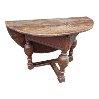 17th Century Dutch Oak Drop-Leaf Table in Original Surface For Sale