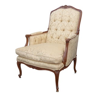Vintage French Provincial Country Carved Wood Tufted Beige Down Accent Chair For Sale