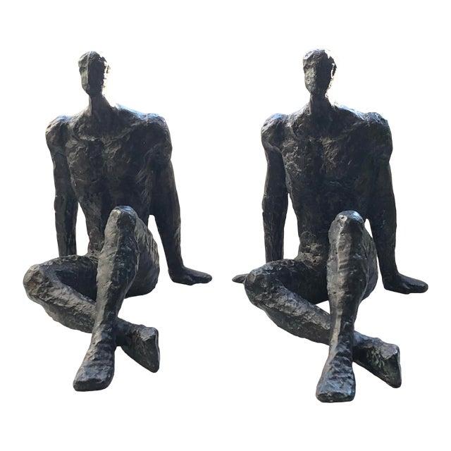 Mid 20th Century Modernist Brutalist Figurative Bronze Sculptures - a Pair For Sale