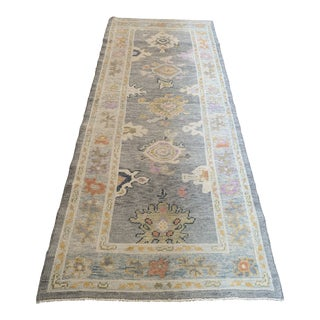 Contemporary Turkish Oushak Runner Rug - 3″ × 7″ For Sale