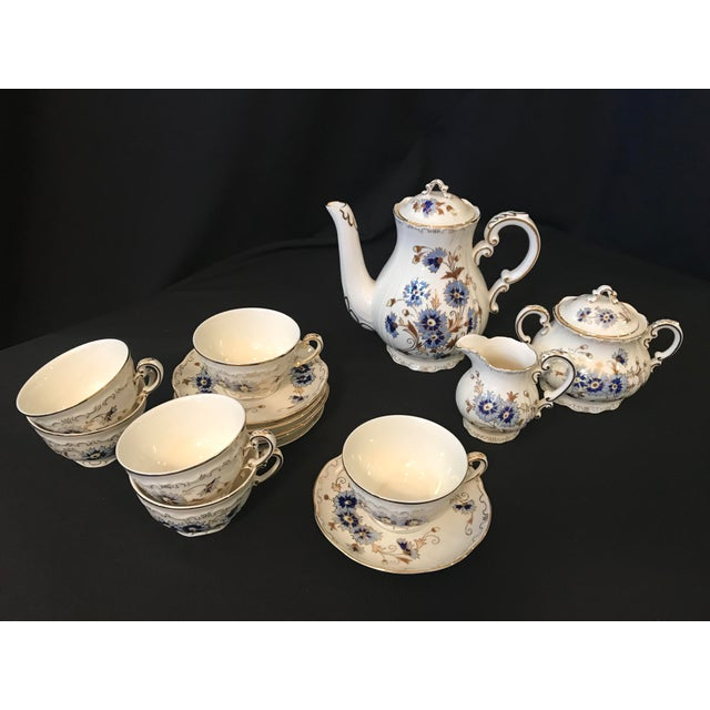 Hand painted Hungarian Porcelain tea/coffee set with high-fired decoration with 24-carat gold Set includes: Coffee Pot,...