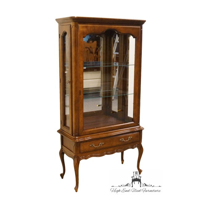 French Hammary Solid Cherry Louis XVI Country French Lighted Curio Display Cabinet For Sale - Image 3 of 13