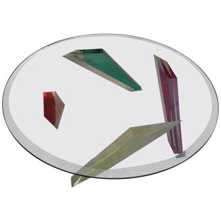 Haziza Multicolor Lucite Coffee Table For Sale