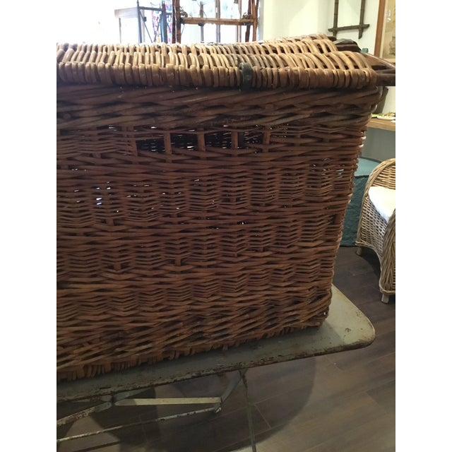 Canvas 20th Century French Woven Wicker Basket For Sale - Image 7 of 13