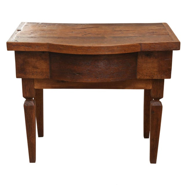 French walnut vanity table newly constructed from antique wood. Bow-front shape upper portion, raised on squared tapered...