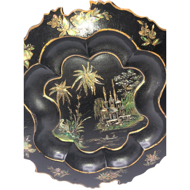 English Antique English Paper Mache With Mother of Pearl Plate For Sale - Image 3 of 7