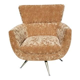 Mid-Century Gold Crushed Velvet Swivel Chair