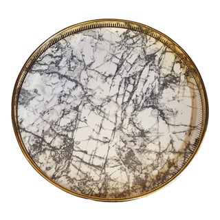 Mid-Century Modern Brass & Faux Marble Footed Serving Tray