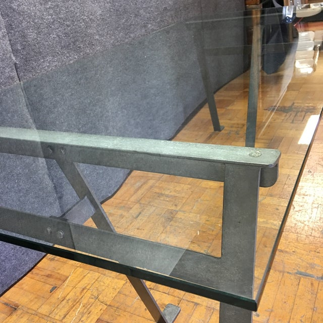 Glass & Metal Architect's Desk or Dining Table - Image 4 of 8