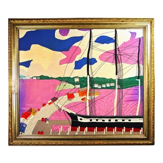Folk Art Silk and Linen Picture of a Sailing Ship in Landscape, Circa 1930 For Sale