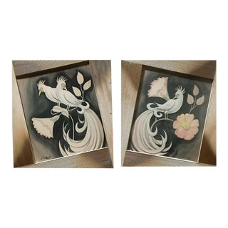1950s Vintage Carlo of Hollywood Watercolors Signed - A Pair For Sale