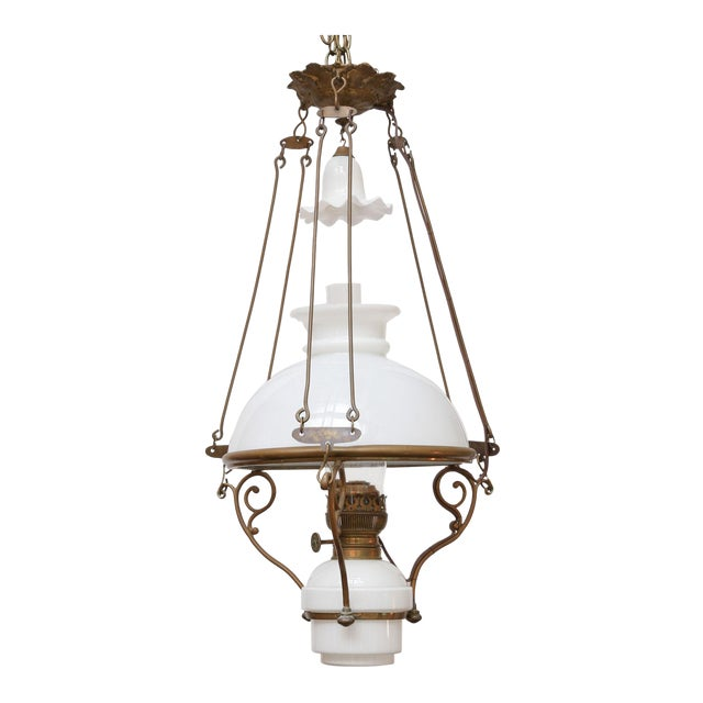 Antique French Milk Glass Hall Lantern For Sale